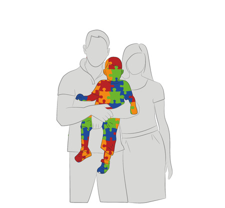 Silhouettes of parents keep a child on the autism background symbol. The concept of treating autism. Vector illustration.