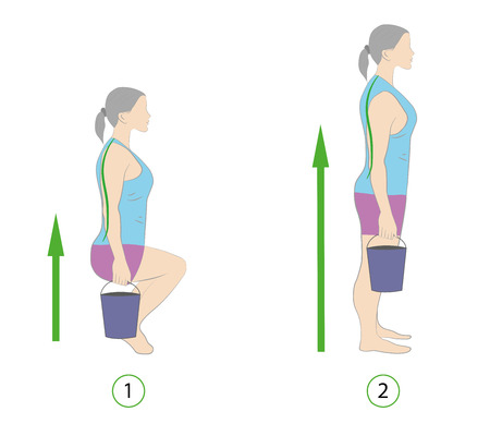 Correct posture to lift a heavy object (bucket) safely. Illustration of health care. Vector illustration