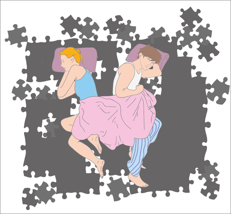 Upset young couple having marital problems or a disagreement lying side by side in bed. Vector illustration