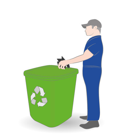 Man picks up and throws. The concept of a clean environment. Vector illustration.