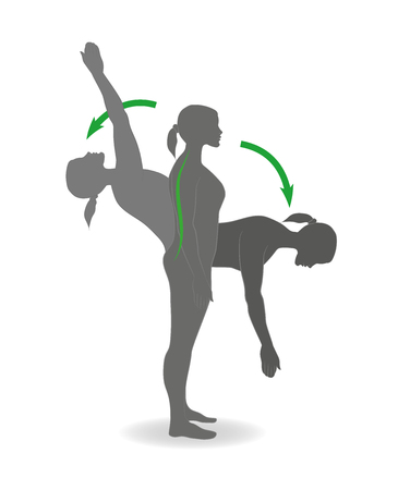 Flexion and extension exercises. Vector illustration.
