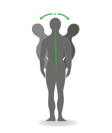 tense: Exercises for the back and neck. Correct posture. Vector illustration.