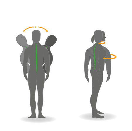 Exercises for the head and neck. Vector illustration.