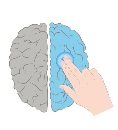 Activate the brain by pressing the button on the hand. Abstract illustration. Vector illustration.