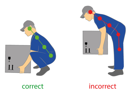 Correct posture to lift. Illustration of health care. Vector illustration Çizim