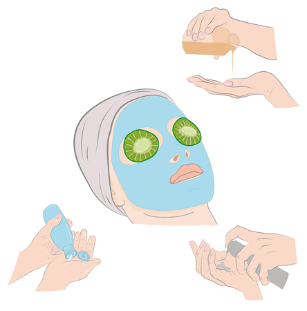 domicile: A woman with a mask on his face. Hand cream is applied. Vector illustration Illustration
