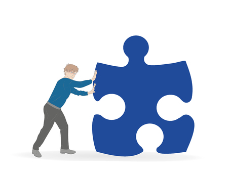 Man pushes a part of the puzzle. Vector illustration. Illustration