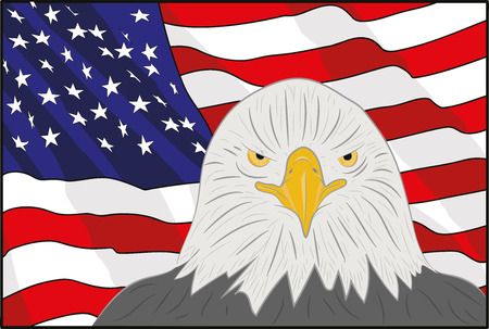 A background featuring American eagle and stars and stripes background. On the feast day of the independence of America. Vector illustration Illustration