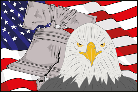 Symbols of America: the bell, an eagle and a flag. Vector illustration.