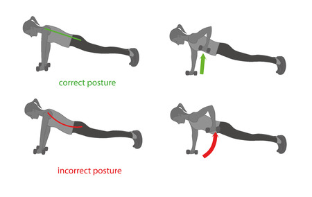 Correct posture and proper exercises. Vector illustration.
