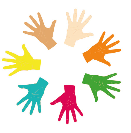 ide: Warm colorful up hands, vector illustration Illustration