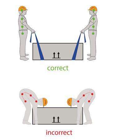 Correct posture to lift. Illustration of health care. Vector illustration Vetores