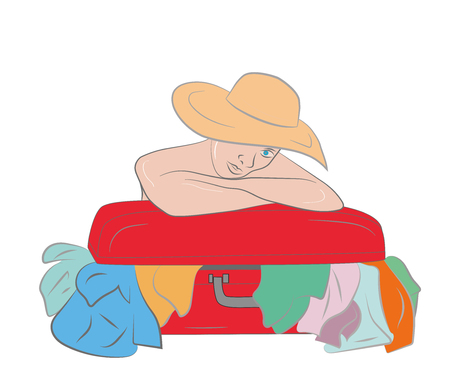 suitcase packing: Woman with the suitcase with things. Vacation concept. Vector illustration.