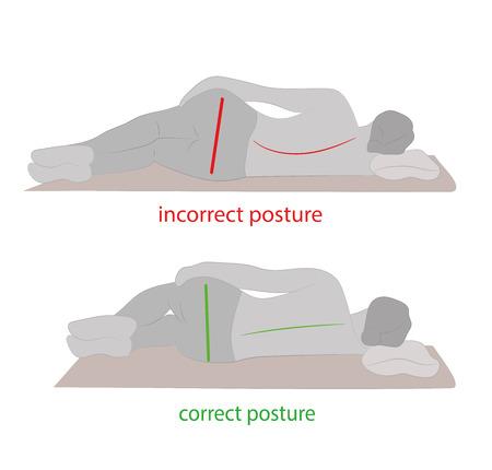 Postura correcta durante el sueño. Ilustración del vector.