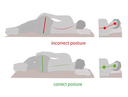 Correct posture during sleep. Vector illustration.