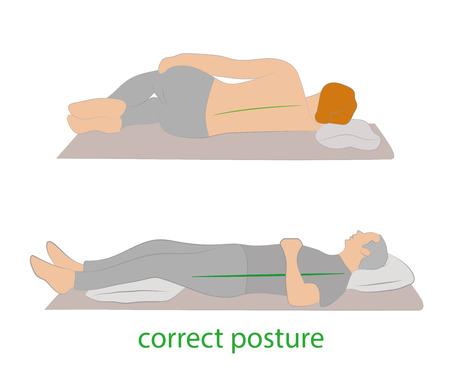 Posizione corretta durante il sonno. Illustrazione vettoriale. Vettoriali