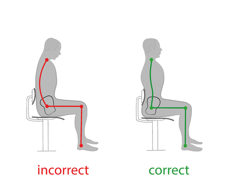 Correct posture of the spine. Vector illustrations