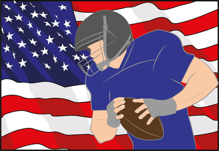 American football player on the background of the American flag. Vector illustration