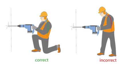 正しいと正しくない姿勢、ドリルを使用する場合。