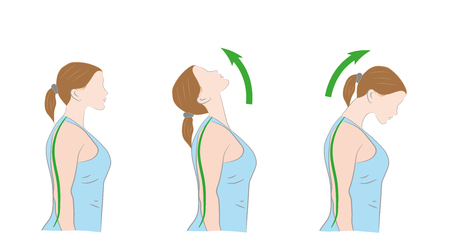 Exercises for the neck. Medical advice. Vector illustration.