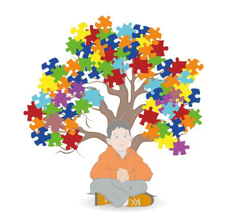 Dziecko siedzi pod drzewem. Puzzle w kolorach świadomości autyzmu, renderowanie 3D Ilustracje wektorowe