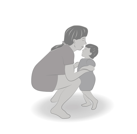 black family: Mom takes the childs hand for Mothers Day vector illustration. Illustration