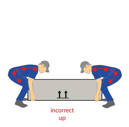 Incorrect upward lifting posture  イラスト・ベクター素材