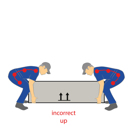 Incorrect upward lifting posture Ilustrace