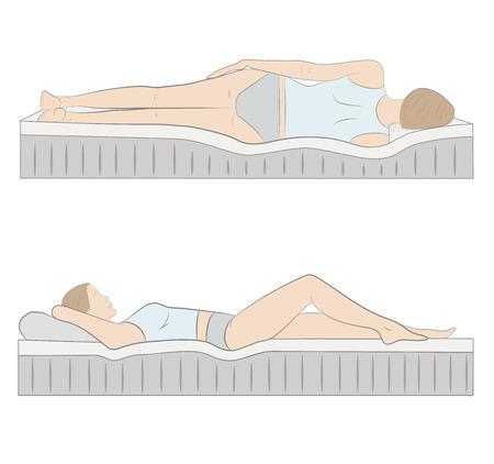 Correct sleeping posture. Illustration