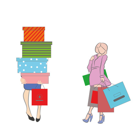 Woman holding boxes and shopping bags. Vector illustration. Ilustração