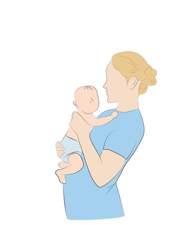 Mama und Babe. Vektor-Illustration. Standard-Bild - 83419096