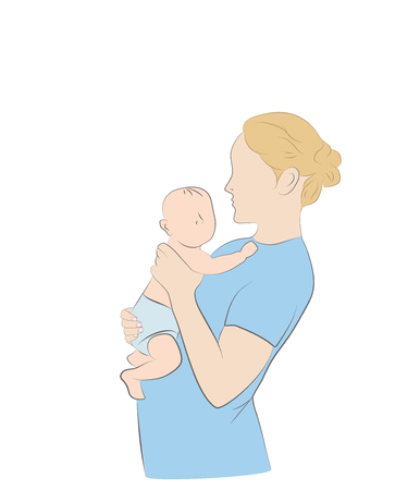 Mom and babe. Vector illustration. Illustration