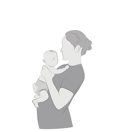 Mama und Babe. Vektor-Illustration. Standard-Bild - 83419127