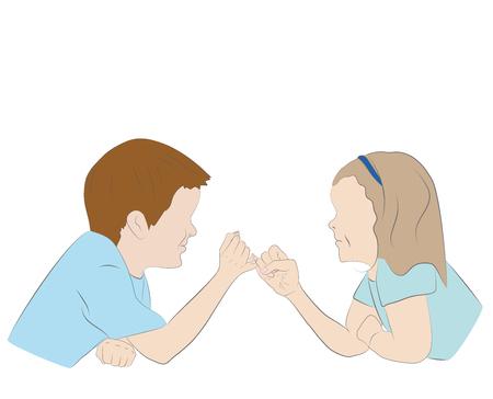 Children holding hands. Friendship concept. Vector illustration. Illustration