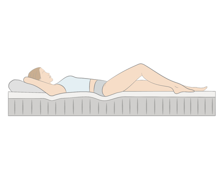 Correct position is to sleep on your back. Vector illustration