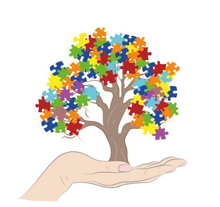 Pièces de puzzle dans l'arrière-plan de couleurs de conscience d'autisme, rendu 3D. Illustration vectorielle
