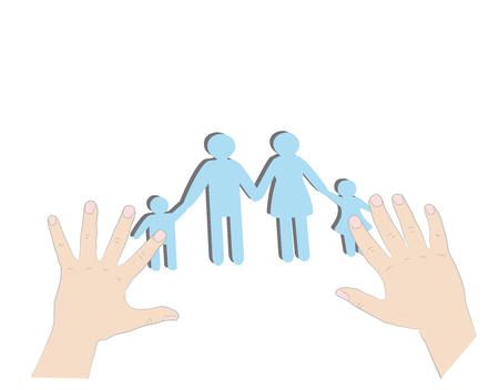 insure: Hands holding family silhouette cut out of paper. Vector illustration.