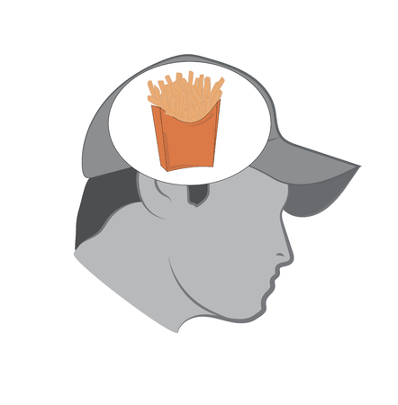 hot dog: Man thinks about a french fries. Fast-food concept. Vector illustration.