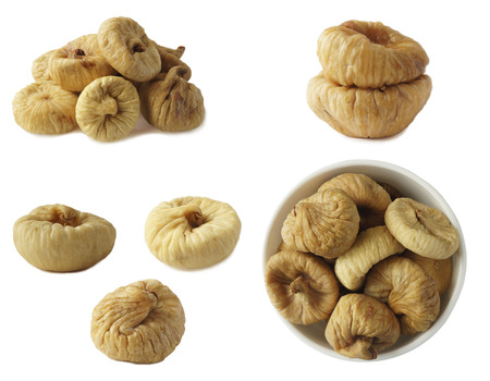 Collage of figs isolated on white background. Ripe dried fruit close-up. Set of figs.