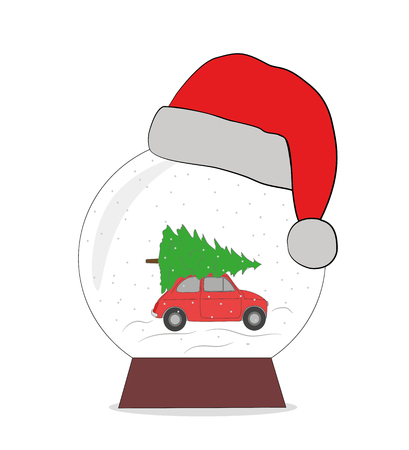 a snow ball in a New Years cap. the car is carrying a Christmas tree for the holiday. The concept of New Year and Christmas holidays. vector illustration.