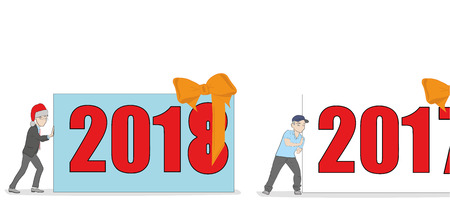 the man in the New Years cap pushes the inscription 2018. another person pushes out 2017. the concept of the arrival of the new year. vector illustration.