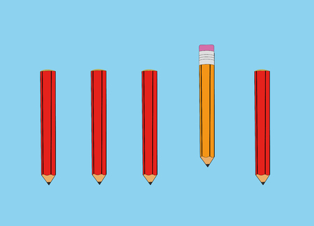 Outstanding yellow pencil. Business advantage opportunities and success concept. Uniqueness, leadership, independence, initiative, strategy, dissent, think different. Vector Illustration Illustration