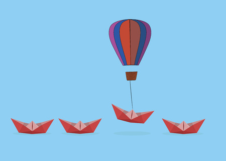 a paper boat lifts a balloon. Advantages for business and the concept of success. Uniqueness, leadership, independence, initiative, strategy, dissent, different thoughts. Vector illustration Illustration