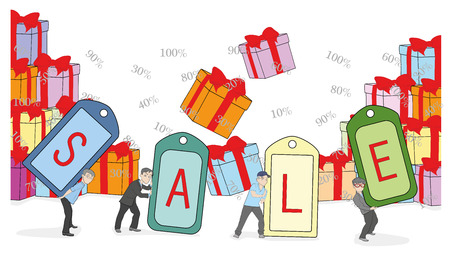 Little people keep tags sale. vector illustration.