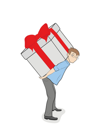 The person pushes the box with the gift. The concept of a gift for a holiday. vector illustration. Illustration