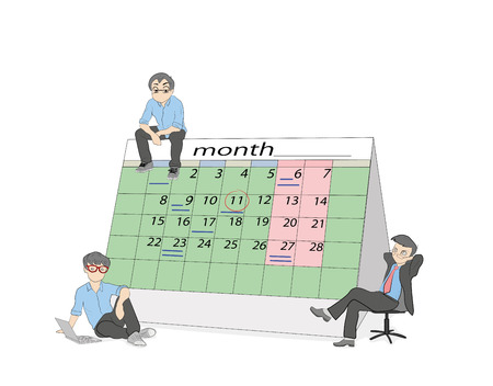 Little people are sitting near the calendar. concept of planning the month. Vector illustration. Illustration