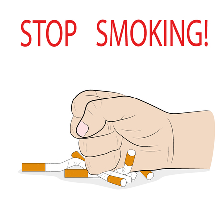 a man's hand crushes cigarettes. STOP SMOKING! concept of the ban on smoking. vector illustration. Zdjęcie Seryjne - 91000827