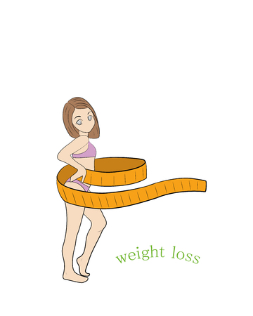 A young thin woman measures her waist with a tape measure. weight loss. woman and ribbon. Measure the size of the waist. vector illustration.