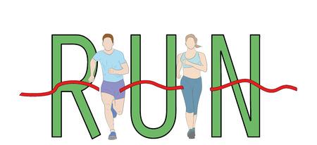 Run text font design, Marathon runners, Men and Women running graphic vector.