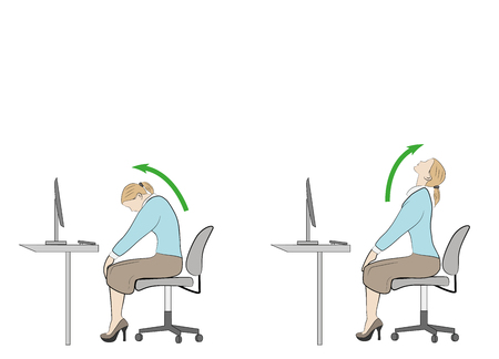 Exercises for the neck and head. computer syndrome. vector illustration.